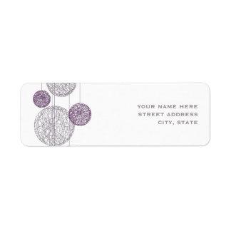 Etiqueta de dirección púrpura de los globos de la