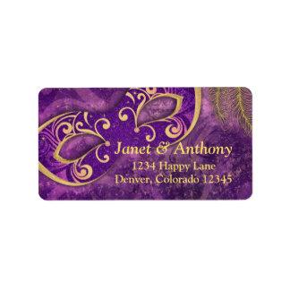 Etiqueta de dirección púrpura del boda de la masca