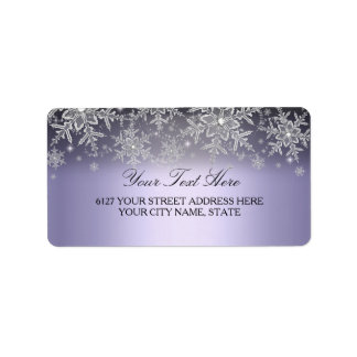 Etiqueta de dirección púrpura del invierno del