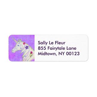 Etiqueta de dirección púrpura del unicornio