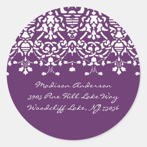 Etiqueta de dirección púrpura y blanca del damasco