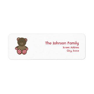 Etiqueta de dirección rayada del navidad del oso