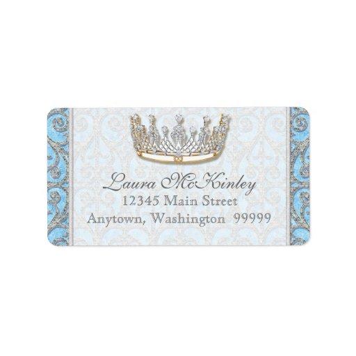 Etiqueta de dirección real de princesa Crown Baby