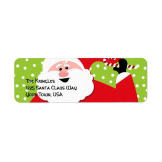 Etiqueta de dirección redonda de Santa