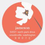 Etiqueta de dirección redonda del flor de la amapo