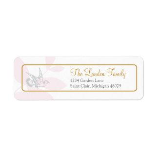 Etiqueta de dirección religiosa rosada