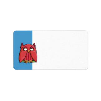Etiqueta de dirección roja de la aguamarina del bú