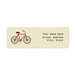 Etiqueta de dirección roja de la bicicleta