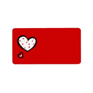 Etiqueta de dirección roja de los corazones