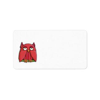 Etiqueta de dirección roja del búho