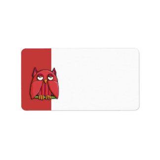 Etiqueta de dirección roja del búho rojo