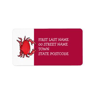 Etiqueta de dirección roja del cangrejo rojo