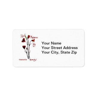 Etiqueta de dirección roja del lirio de Mariposa