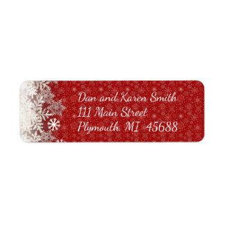 Etiqueta de dirección roja del navidad del copo de