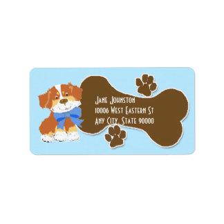 Etiqueta de dirección roja del perro del dibujo