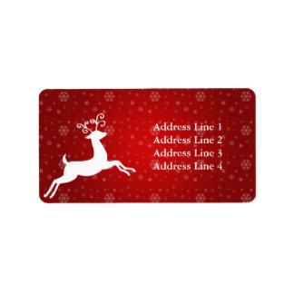Etiqueta de dirección roja del reno
