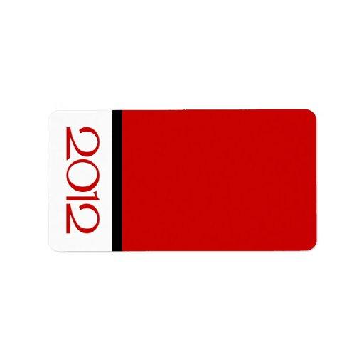 Etiqueta de dirección roja negra de la Feliz Año N