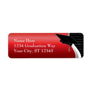 Etiqueta de dirección roja y negra de la graduació