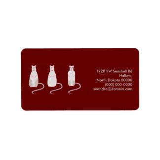 Etiqueta de dirección Rojo-Observada de las ratas