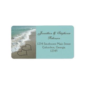 Etiqueta de dirección romántica de la playa de los
