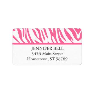 Etiqueta de dirección rosada de la cebra