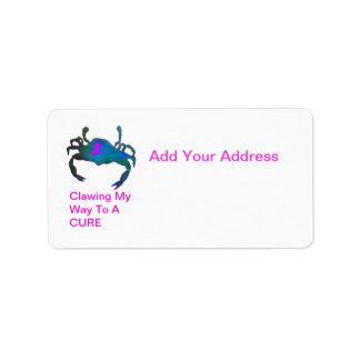 Etiqueta de dirección rosada de la cinta del cangr