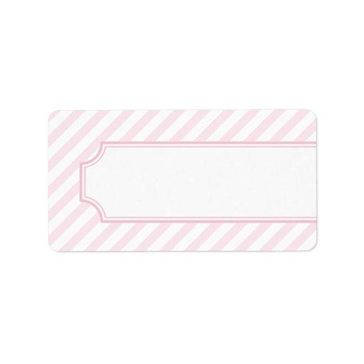 Etiqueta de dirección rosada de la raya