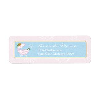 Etiqueta de dirección rosada del carro de bebé del