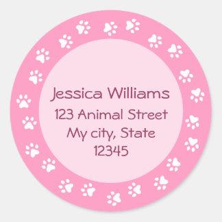 Etiqueta de dirección rosada del círculo del pawpr