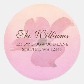 Etiqueta de dirección rosada del flor de la flor