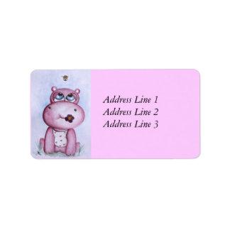Etiqueta de dirección rosada del hipopótamo
