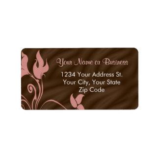 Etiqueta de dirección rosada del remolino de Brown
