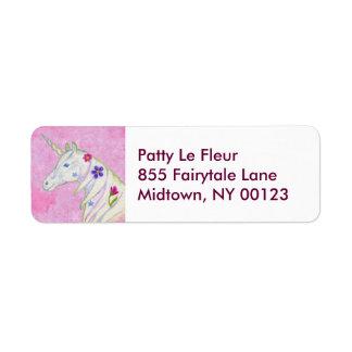 Etiqueta de dirección rosada del unicornio