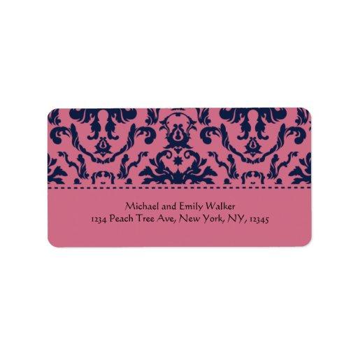 Etiqueta de dirección rosada y negra elegante del