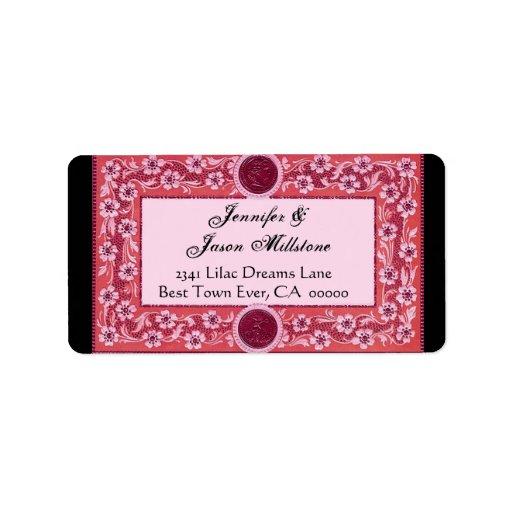 Etiqueta de dirección rosada y roja de la flor del