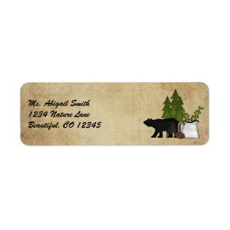 Etiqueta de dirección rústica del oso del país de