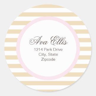 Etiqueta de dirección/sello rosados personalizados