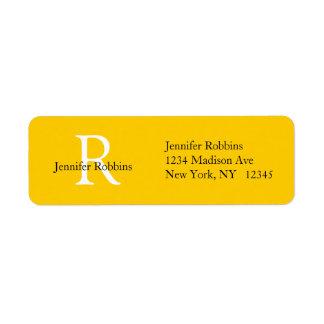 Etiqueta de dirección simple inicial blanca amaril