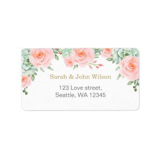 etiqueta de dirección suculenta de los rosas del
