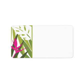 Etiqueta de dirección tropical - verde y rosa