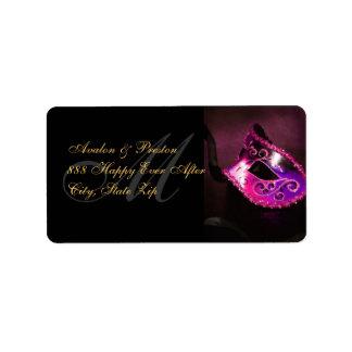 Etiqueta de dirección veneciana rosada de la másca