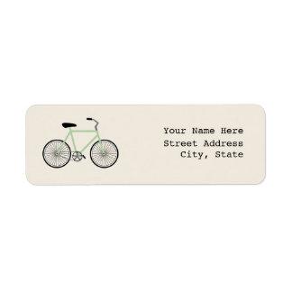 Etiqueta de dirección verde clara de la bicicleta
