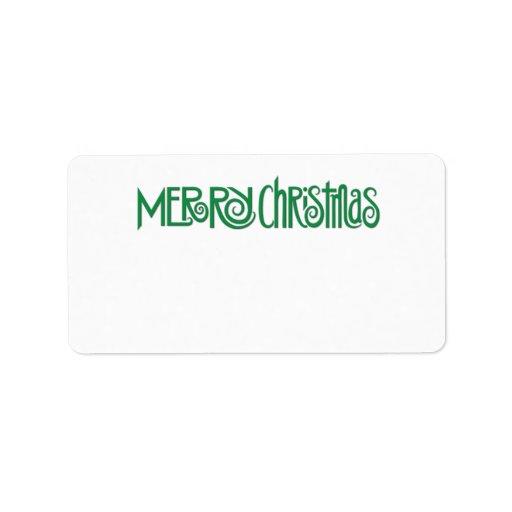 Etiqueta de dirección verde de las Felices Navidad