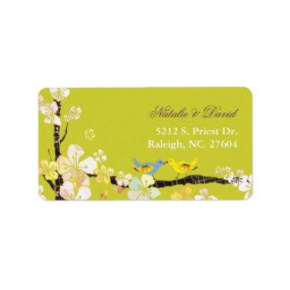 Etiqueta de dirección verde floreciente del boda d
