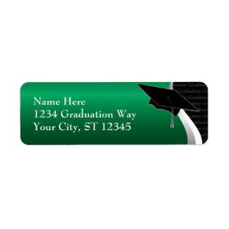 Etiqueta de dirección verde y negra de la graduaci