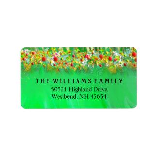 Etiqueta de dirección - verdes y decoraciones del