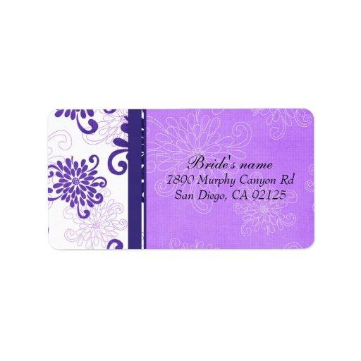 Etiqueta de dirección violeta floral de lujo del d