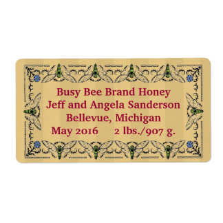 Etiqueta de empaquetado personalizada miel de la etiquetas de envío