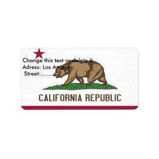 Etiqueta de encargo con la bandera de California, Etiqueta De Dirección