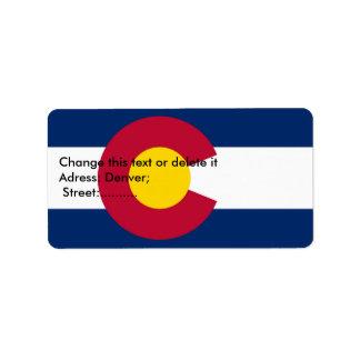 Etiqueta de encargo con la bandera de Colorado Etiqueta De Dirección